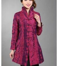 Burgundy Chinese women's silk/Satin Long jacket coat Cheongsam Sz:S,M L XL2XL3XL
