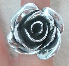 925 STERLING SILVER Oxidised HOLLOW electroform BIG chunky ROSE ring -GIRL WOMEN
