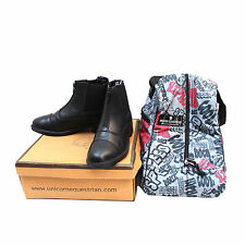 Unicorn Front Zip Horse Riding Jodhpur Boots Black + Free Printed Jodhpur Bag