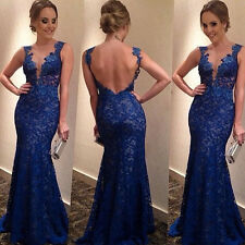 New Women Sexy Backless Maxi Lace Deep V-Neck Long Cocktail Party Evening Dress