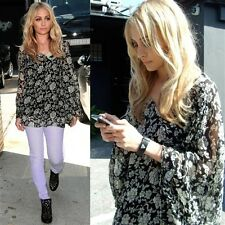 Winter Kate - Lily Top - RARE Black & White Floral Print - seen on Nicole Richie