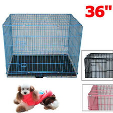"36"" Dog Cage Pet Puppy Training Crate Travel Carrier Foldable Metal Large"