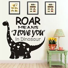 Baby Natural Wall Decal Roar means I love you in Dinosaur Animal Word Room Decor