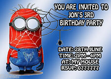 MINION SPIDERMAN  Personalised Birthday Party Invitations.  A6 + envelopes  BOYS