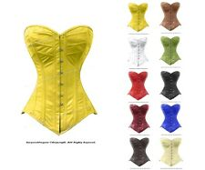 Full Steel Boned Waist Training Leather Long Line Overbust Shaper Corset #8289LE