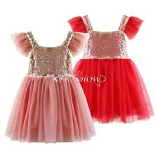 Gold Sequin Girls Princess Dress Toddler Baby Wedding Party Pageant Tulle Dresse