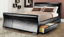 2 DRAWERS LEATHER STORAGE SLEIGH BED DOUBLE BED OPTION OF MEMORY MATTRESS.*SALE*