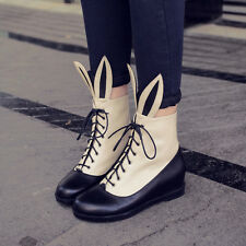 Womens Cute Bunny Ears Fashion Hidden Heels Lace Up Ankle Riding Boot Chic Shoes