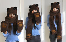 New Latest Fashion Lovely Panda Shaped Winter Hooded Scarf Hat Gloves Set