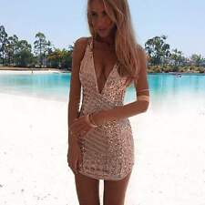 Sequin Bodycon Women Mini Dress Deep V-neck Plunging Gold Pink Ball Gown CO99