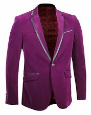 Mens Purple Soft Velvet Blazer Satin Trim Collar Pockets Dinner Jacket Tuxedo