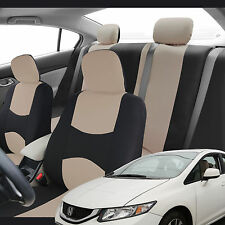 Beige Gray Pink & Black Flat Cloth Fabric Seat covers Full Set for Honda Civic