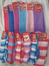 WHOLESALE LOT 6 or 12 pair Knee High Fuzzy Socks - solid and stripes