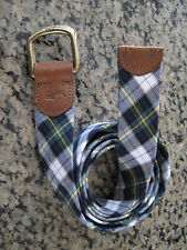 RALPH LAUREN POLO Preppy Plaid Belt with Leather and Brass Hardware NWT