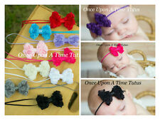 Petite Rosette Rose Bow Newborn Headband - Baby Little Girl Hairbow You Choose