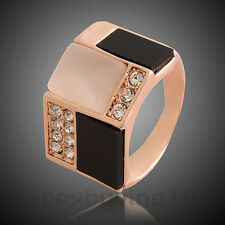So COOL High Quality 18K Rose Gold GP Crystal Cat Eyes Stone Cocktail Ring 432
