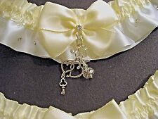 Ivory White 2 wedding bridal garters prom set Heart charm Crystals fix handmade