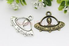 Lot 10/20pcs Antique Silver/Bronze Lovely flying saucer Charms Pendant 31x23mm