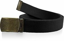 Plain Canvas Military Web Belt Solid Black Metal Roller Buckle Mens Womens