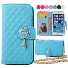Gold Metal Pearl Chain PU Leather Handbag Purse Wallet Case For iPhone Series