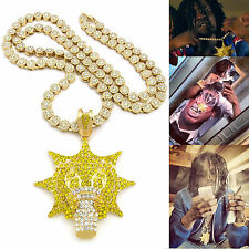 "MENS ICED OUT GOLD PLATED CHIEF KEEF GLO GANG PENDANT W/ 36"" CHAIN NECKLACE"