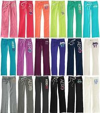 AEROPOSTALE WOMENS SWEATS FIT & FLARE AERO 87 SWEAT PANTS FLEECE EMBROIDERED NWT