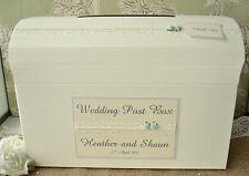 Ivory or Cream Personalised Wedding Chest Post Box - Rose & Pearl Lace Design