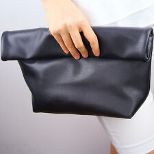 Foldover Convertible Oversize Vegan Leather Clutch Bag Handbag Black Silver Gold