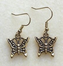 PRETTY BUTTERFLY DANGLE/ DROP HOOK EARRINGS - ANTIQUE GOLD OR SILVER TONE