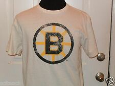 Brand New Mitchell& Ness White Boston Bruins NHL Distressed Style T-Shirt Sharp