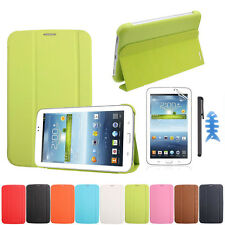Leather Case Cover For Samsung Galaxy Tab 3 7.0 T210 T211+Film +Stylus Excellent