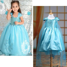 Baby Girls Kids Princess Snow Queen Party Costume Tulle Tutu Fancy Dresses 3-8Y