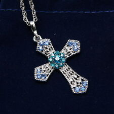 Silver Rhinestone CROSS With Sweater Chain Crystal Pendant Necklace Xmas Gifts