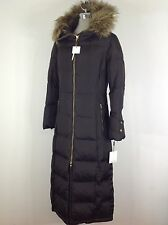 Calvin Klein NWT Long Brown Down Jacket trimmed with removable faux fur