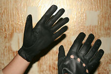Ladies Women's Black Genuine Real Leather Driving Riding Shooting Soft Gloves//