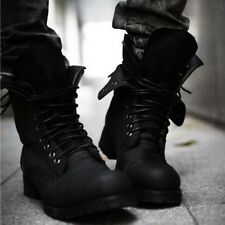 Mens Retro Combat Boots High Top England Style Classic Lace Up Shoes Black Color