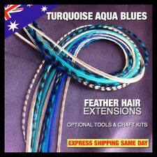Feather Hair Extension Natural Grizzly Turquoise Aqua Blues 24 +4pc Mix Pk Tools