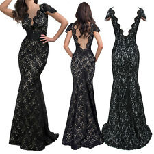 Formal Sexy Long Lace Women Prom Evening Party Wedding Maxi Dress V neck Dresses