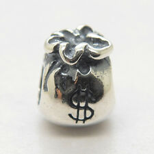 New 925 Sterling Silver lovely & Luck Money bag European Bead Charms