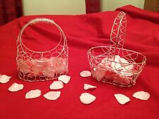 Silver flower girl/ bridesmaid mesh/ wire basket