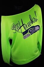Seattle Seahawks Neon Green Scoop Neck Raw Edge French Terry Top. Super Bowl!!