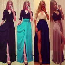 Women V Neck Lace Side Slit Half Sleeve Cocktail Party Prom Gown Maxi Dress S-XL
