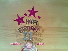 PINK Glitter Star Silver Birthday CUPCAKE Decoration Topper, Any Age, Gift Idea