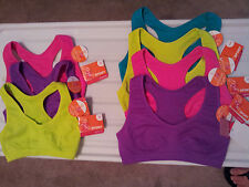 Girls-Sports-Bra-Bright-Colors-Athletic-Seam-Free-Racer-Back-Choose-Size-&-Color