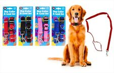 NYLON WEAVE DOG COLLAR AND LEAD SETS, ASST COLOURS..