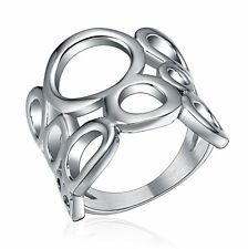 Personality Stainless Steel Silver Hollowed Ring Men's Womens Party Prom Jewelry
