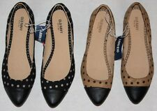 New Women's Old Navy Polka Dot Print Cap Toe Black Brown Flats Size 8 9