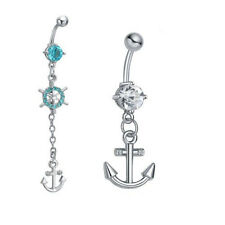 New Stainless Steel Anchor Navel Belly Button Ring Barbell CZ Body Piercing Mens