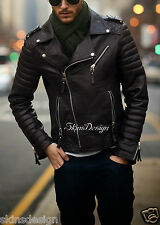 New Stylish Men's Motorcycle Lambskin Genuine Leather Biker Jacket MJ # 36