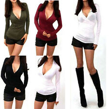 Sexy Women Casual Slim Fit V Neck Long Sleeve T Shirt Blouse Tops 4 Colours